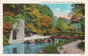 Illinois Joliet Rustic Bridge and Spring House West Park Curteich