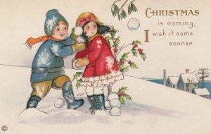 Artist M.E.P.; Christmas kids in snowball fight , 00-10s