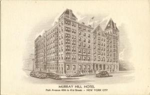 Murray Hill Hotel, New York City 1930s unused Postcard