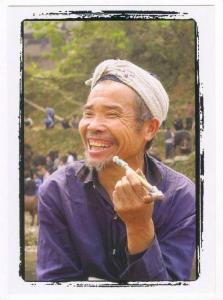 People´s Republic of China: GUIZHOU province native man with pipe, 2000