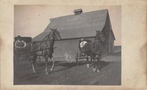 Farm Real Photo Postcard~Old Farmer & Young Guy~2 Horse Buggies~Barn~1912 RPPC