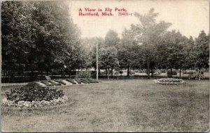 Hartford Michigan~Ely Park~Large Letter Landscape Bushes~1919 B&W~CR Childs PC
