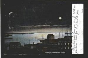 MA Moonlight view Harbor NEW BEDFORD MASS Postcard UDB Massachusetts