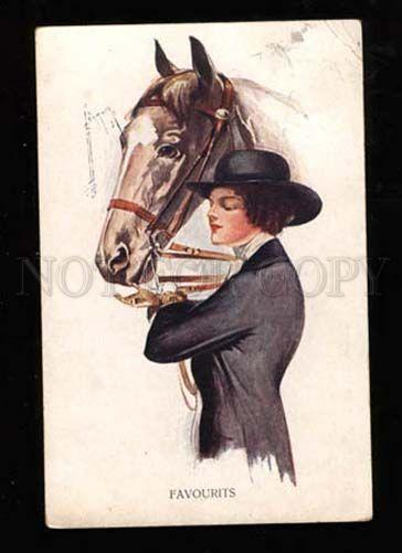 022934 Lady as Rider & HORSE. By BARBER. Vintage PC