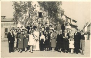 Postcard Wedding bride groom marriage lovers dress family social history  group