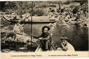 VIETNAM INDOCHINE - L'arrivée du missionnaire au village (190096)