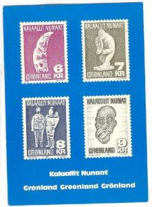 Gronland / Greenland stamps pictured on postcard, 1960-70s #1