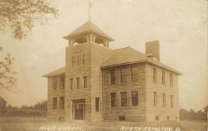 North Royalton Ohio~Flag Over Short Top Belltower on High School~RPPC 1909 PC