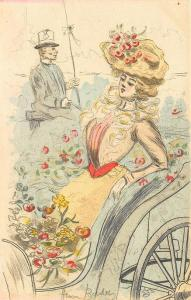 Henri Boutet  Artist Signed Woman in Carriage Postcard