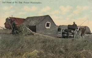 Sod home of North Dakota Pioneer Homesteaders , 1909