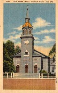 Maine Portland First Parish Church Built 1740 Curteich