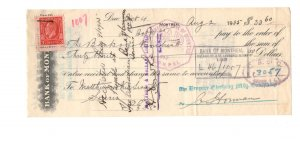 Cheque, Bank Of Montreal 1935, Empire Clothing Mfg. Montreal Quebec Canada Stamp