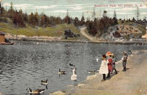 St John New Brunswick~Rockwood Park~Victorian Children Feed Geese~1909 Postcard