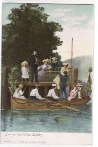 Summer Festivities Boating Sweden 1907c postcard