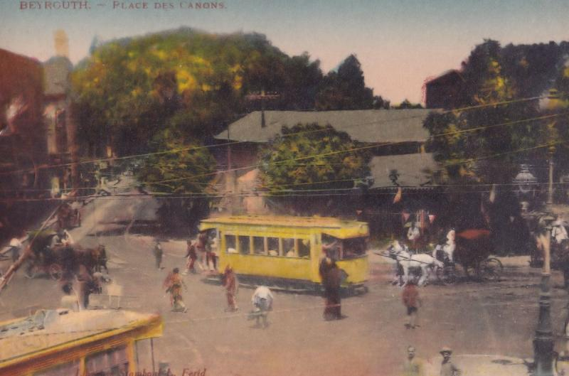 Beirut Bus & Conductor Place De Canons Lebanon Old Postcard