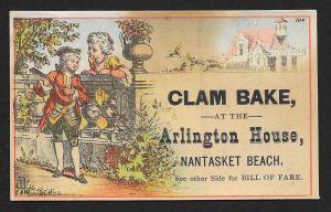 VICTORIAN TRADE CARD Arlington House Clam Bake Man & Lady at Fence Menu on Back
