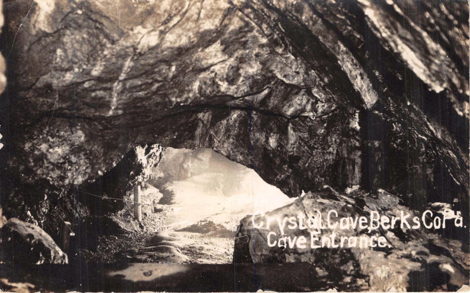 berks county virginville pennsylvania crystal cave entrance real photo postcard hippostcard