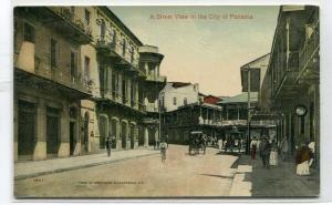 Street Scene Panama City Panama 1910c postcard