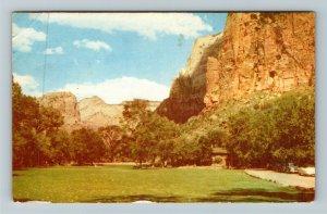 Springdale UT- Utah, Zion Lodge, Zion National Park, Chrome Postcard