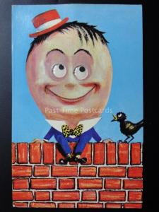 Comic Novelty Postcard: HUMPTY DUMPTY SAT ON THE WALL with moving eyes Old PC