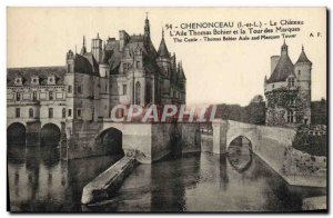 Old Postcard Chateau Chenonceau L & # 39Aile Thomas Bohier and the Tower of B...