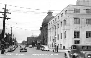 Marquette Michigan~Washington Street~Post Office~City Hall~Stores~Roadsigns~RPPC