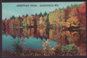 Greetings From Marshfield,WI Lake Scene BIN