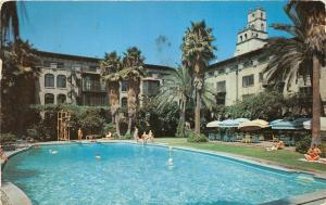 Riverside California~Mission Inn~People @ Swimming Pool~1957 Postcard