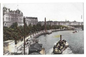 UK London Thames River Embankment Steamer Boats Postcard