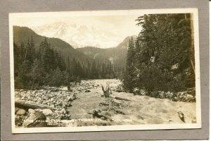 Postcard WA Tacoma National Park Real Photo RPPC River Stream Mts c1930s 2647N