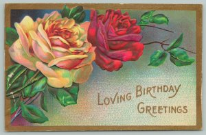 Flowers Greetings~Yellow and Red Rose~Gold Borders~c1910 Embossed Postcard