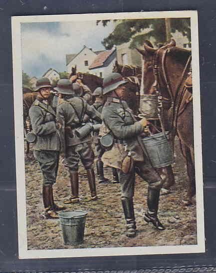 GERMANY TOBACCO CARD WWI 6x5 cms. SOLDIERS, HORSES AAD5178