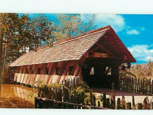 Vintage Post Card Covered Bridge Noccalula Falls Park Gadsden  Ala   # 4140