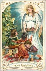 Christmas~Victorian Children Under Xmas Tree~Beautiful Angel Brings Treats~TUCK