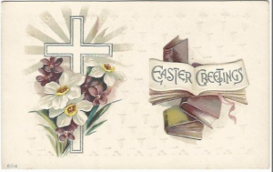 Easter Symbolism Books, Silver Gilded Cross, Purple Violets Vintage Postcard
