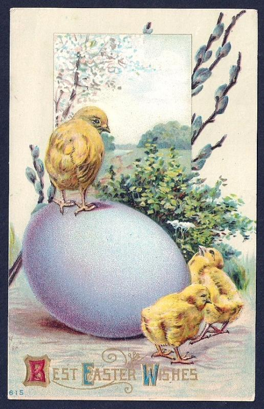 'Best Easter Wishes' Chicks Egg & Pussywillow Used c1911