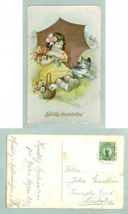 Sweden.1918. Congratulation. Girl with Flowers,Cat. Postal Used