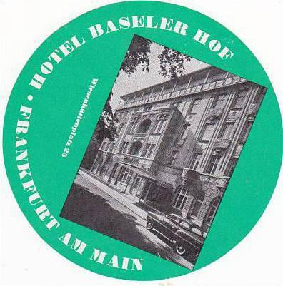 GERMANY FRANKFURT HOTEL BASELER HOF VINTAGE LUGGAGE LABEL