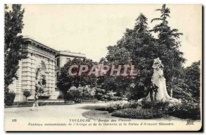 Old Postcard Toulouse Garden Plants Monumental fountain of Ariege and Garonne...