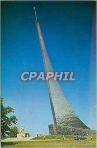 Old Postcard Moscow Obelisk to Space Conquerors and Monument to Konstantin