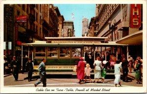 SF , CA - CABLE CAR POWELL MARKET ST - VINTAGE CHROME POSTED 60s postcard