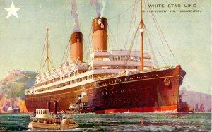 White Star Line - SS Laurentic. Artist: Walter Thomas