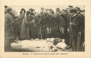 Postcard 1908 Messina Earthquake King Victor Emmanuel III Vists Victems
