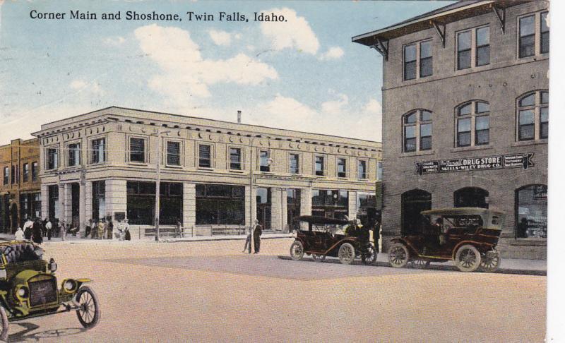 TWIN FALLS, Idaho, PU-1926; Corner Main and Shoshone, Drug Store