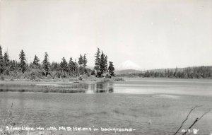 LPS53 Silver Lake Washington Mt. St. Helen in background Postcard RPPC