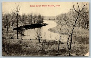 Sioux Rapids Iowa~Sioux River Curves Around Bends~Bare Trees~c1910 B&W Postcard