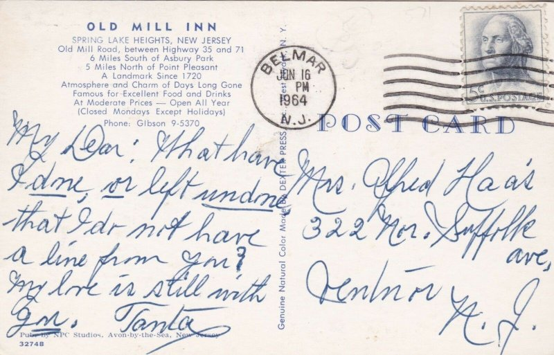 New Jersey Spring Lake Heights Old Mill Inn 1964 sk2619