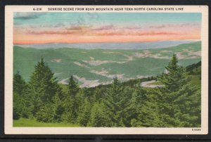 North Carolina postcard Sunrise Roan Mountain near Tenn- North Carolina