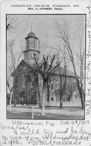 F92/ Warsaw Kentucky Postcard 1913 Christian Church Sanders