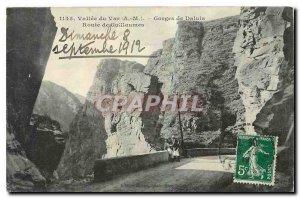 Old postcard Vallee du Var M Gorges Daluis Route Guillaumes